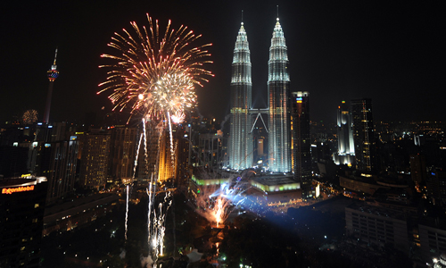 And it was not the only city to provide a spectacular fireworks display, with Kuala Lumpur in Malaysia following soon after [AFP]
