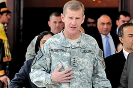 McChrystal, US and Nato commander in Afghanistan, says Iran is training and arming the Taliban [AFP]
