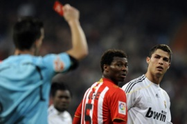 Ronaldo shown red as Real win