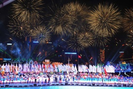 Fireworks light up the sky at the opening ceremony of the 2009 East Asian Games in Hong Kong. The Games feature around 2,300 athletes competing in 22 sporting disciplines [AFP]