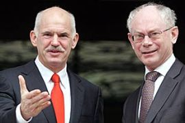 Van Rompuy, right, said he had confidence in Papandreou's, left, efforts to tackle the crisis [EPA]