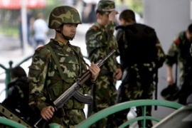 The government in Xinjiang has nearly doubled funding for security in the region in 2010 [EPA]