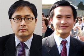 Dinh, left, and Trung were accused of undertaking 'activities aimed at subverting' the government
