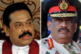 Rajapaksa, left, and Fonseka had been allies but fell out after defeating the Tamil Tigers [File: AFP]