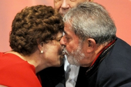 The backing of President Lula da Silva, right, has led to dramatic rise in Rousseff's fortunes [AFP]