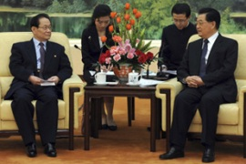 China's president Hu Jintao, right, hosted a North Korean envoy on Tuesday [Reuters]