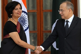 Nirupama Rao, left, met with Salman Bashir, right, her Pakistani counterpart, on Thursday [AFP]