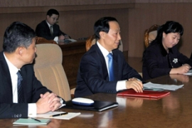 Chinese envoy Wang Jiaru, centre, held talks with Kim Jong-il in Pyongyang on Monday [Reuters]