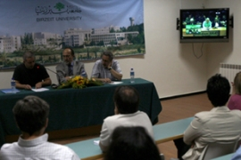 Chomsky delivered his lecture to Bir Zeit University via video link from Amman [AFP]