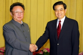 A 2004 trip by Kim, left, to China led to a push for talks on the North's nuclear programme [AFP file]