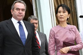 Kurt Campbell, left, last met detained opposition leader Aung San Suu Kyi in November [EPA file]