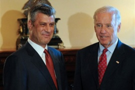 Biden and Thaci met in Washington on Wednesday on the eve of the court's verdict [AFP]