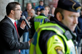 The Sweden Democrats' leader has been protected by police as anti-racism activists have disrupted rallies [EPA]