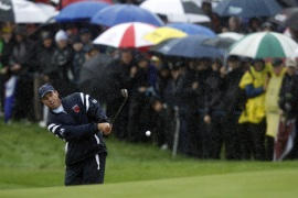 US in front at rain-hit Ryder Cup