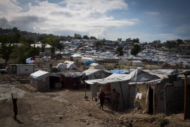 In Camp Acra more than 26,000 people live elbow to elbow with no clean water. The entire population is at risk from cholera [Alessandro Rampietti]