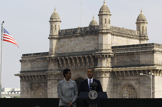 The president and the first lady, Michelle, met families of victims of the November 2008 Mumbai attacks in which 166 people died [Reuters]