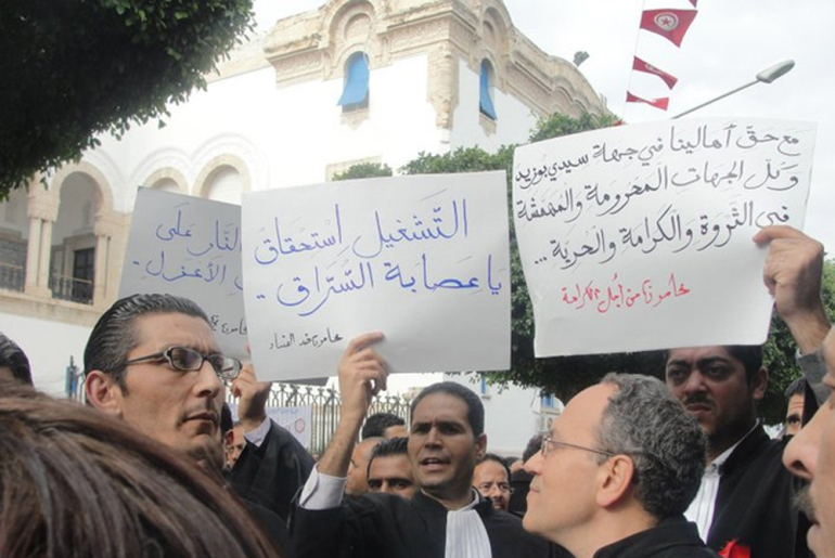 Lawyers also joined; around 300 marched in solidarity with protesters near the presidential palace in Tunis [EPA]