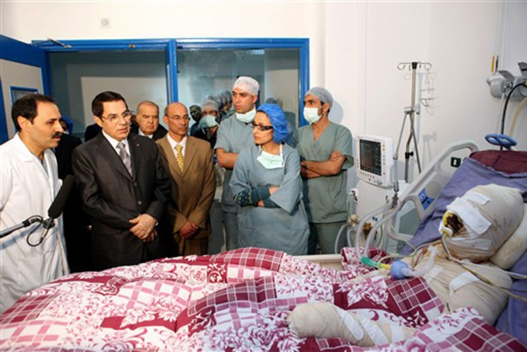 Mohamed Bouazizi suffered third-degree burns across his body. Days later, Ben Ali paid a visit to him in hospital, but Bouazizi would ultimate die of his injuries [AFP]