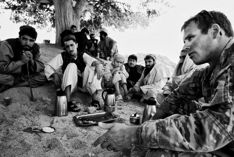 1 Platoon, Delta Co, 1-66, 4th Infantry Division, hold a Shura (meeting) with local elders in Arghandab Valley in Kandahar [John D McHugh]