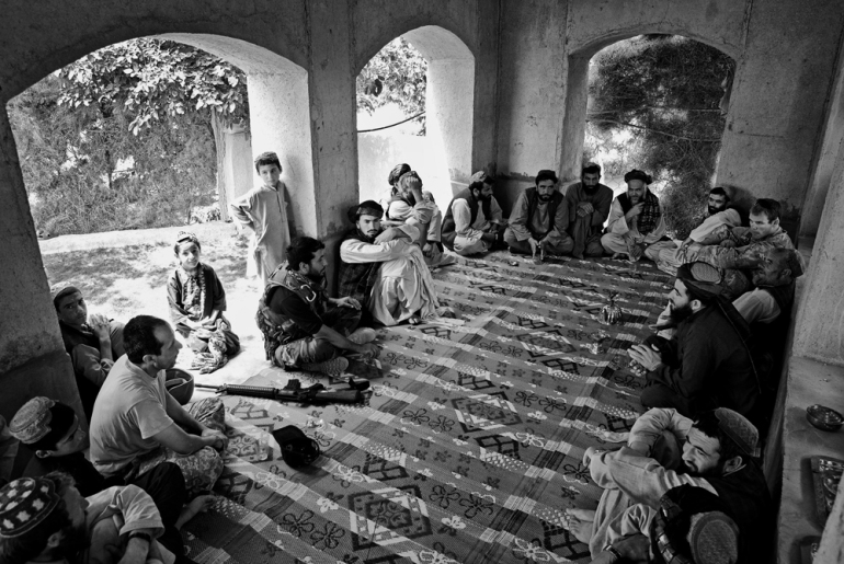 1 Platoon, Delta Co, 1-66, 4th Infantry Division, hold a Shura (meeting) with local elders in Arghandab Valley, Kandahar [John D McHugh]