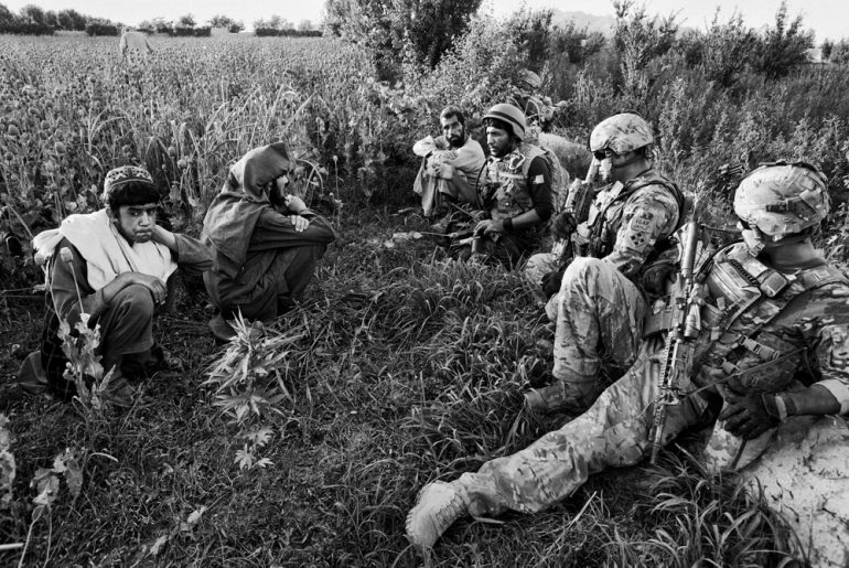 US and Afghan soldiers talk to local farmers as they harvest the opium crop from their poppy fields in Jazah village, in the Arghandab valley [John D McHugh]
