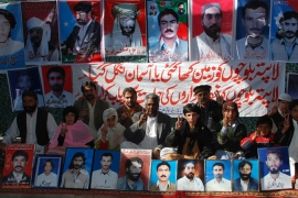 In this January 5, 2010 file photo, relatives of forcefully disappeared people from Balochistan are seen as they demonstrate in front of Pakistan's Supreme Court, in Islamabad, Pakistan [File:Human Rights Watch]