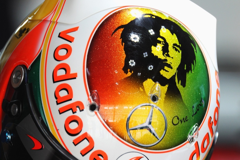 This is the specially designed helmet that will be worn by Lewis Hamilton during the race to pay tribute to Bob Marley. Many of the drivers(***)s cars and helmets will carry the logos and numbers of British racer Dan Wheldon and Italian MotoGP rider Marco Simoncelli, who both died in accidents since the previous Korean Grand Prix [GALLO/GETTY]
