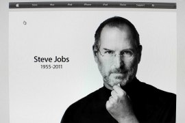 Steve Jobs(***) picture is featured on the front page of the Apple website after his passing in this screen grab on October 5, 2011 [Reuters]
