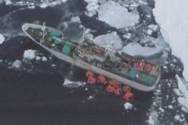 Russian fishing boat stuck near the Antarctic