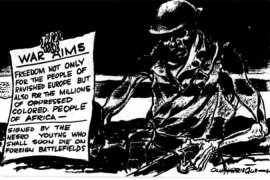 Harrington's 1942 cartoon in The People's Voice captures both the era's morbid ambiance and the uncompromising tenor of black demands.