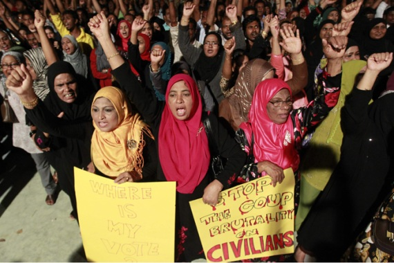 Supporters of former President Nasheed have been protesting against what they deem a 'coup' [Reuters]