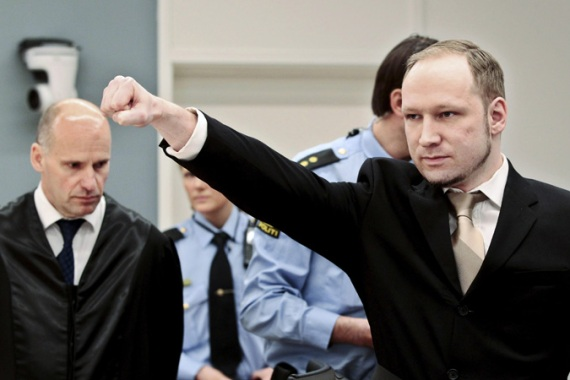 Breivik gave an apparent far-right salute as he entered the court on Monday morning [Reuters]