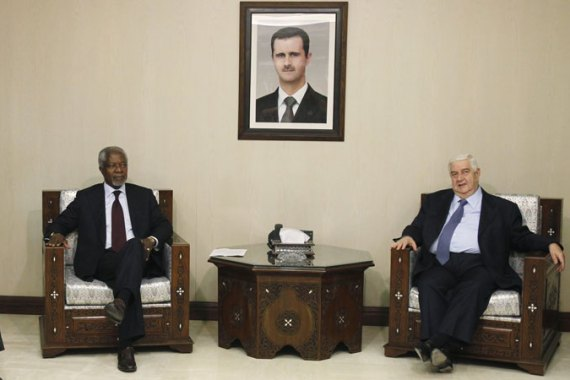 International mediator Annan flew to Damascus on Monday for new talks with the Syrian government [Reuters]