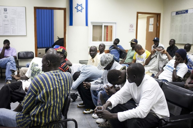 Israeli authorities rounded up dozens of African migrants slated for deportation,  as the government weighs tough penalties against Israelis who help illegal aliens.