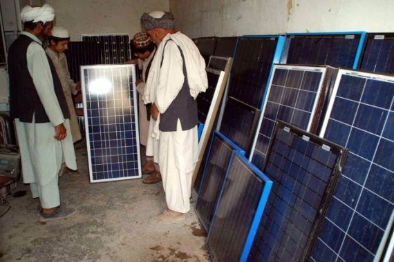 Renewable energy is helping in countries such as Pakistan, where power outages are common in some areas [EPA]