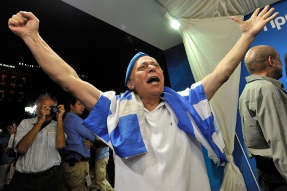 Greece's centre-right New Democracy party won the largest share of the vote in elections on June 17 [AFP]