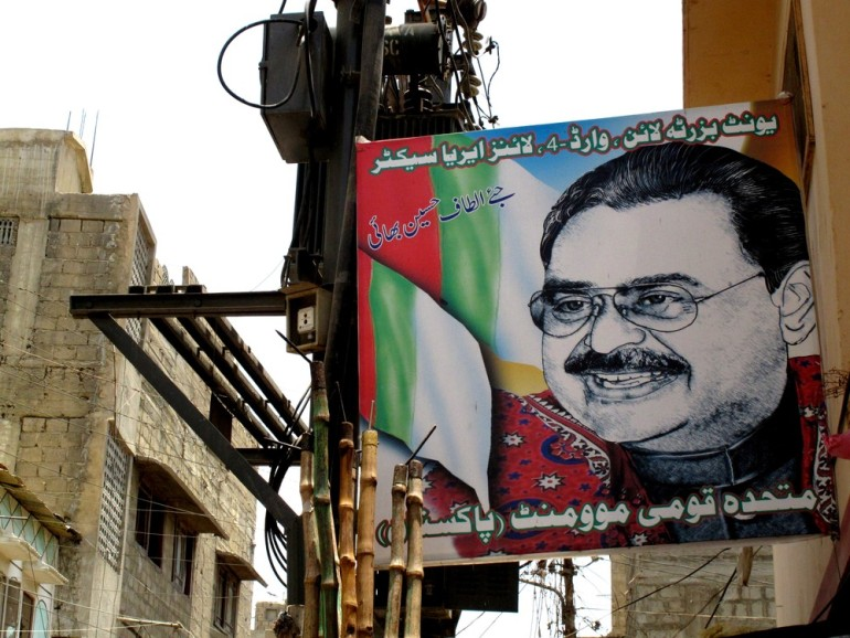 Pictures of Altaf Hussain, who has been living in exile in London for two decades, dot areas of Karachi under the MQM(***)s control. Hussain is respected with almost saint-like reverence by MQM activists.