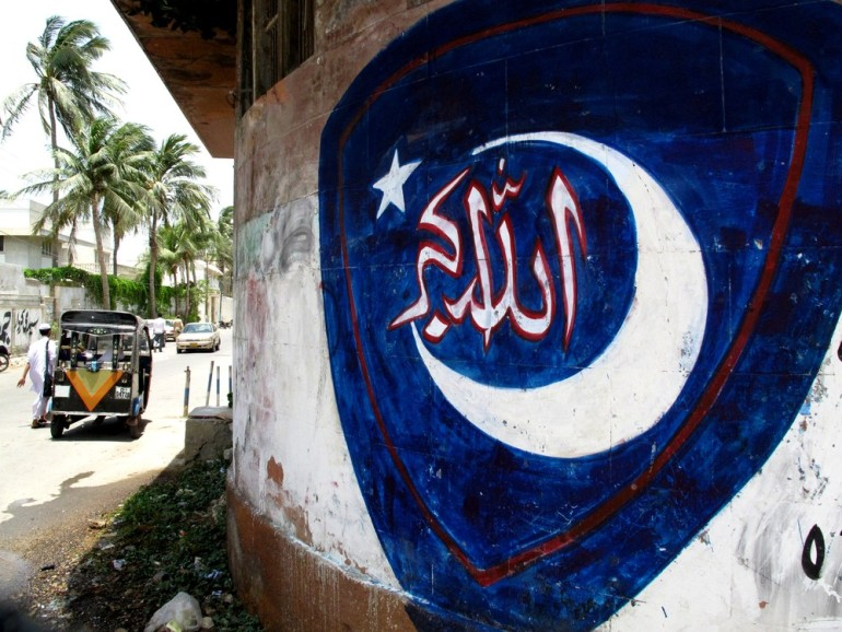 The Jamaat-e-Islami (JI) was once the dominant party in Karachi, but has since lost much of its political votebank to the Muttahida Qaumi Movement (MQM). This piece of graffiti, on the walls of Islamia College, shows the party(***)s logo.