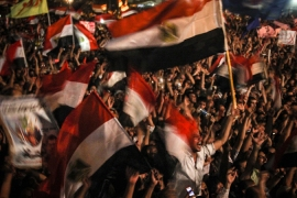 Protesters in Tahrir Square protest SCAF's constitutional declaration and recent court decisions [Mosa'ab Elshamy]