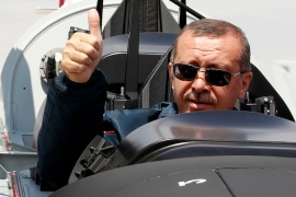 Turkish Prime Minister Recep Tayyip Erdogan insisted that the F4 was hit over international waters [Reuters]