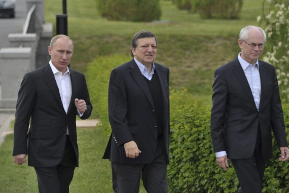 Van Rompuy, left, and Barroso, centre, are expected to press the case for tougher action on Syria [Reuters]
