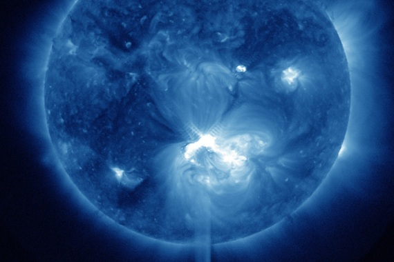 This solar flare may create northern lights as the charged particles hit Earth's outer magnetic field [credit: NASA]