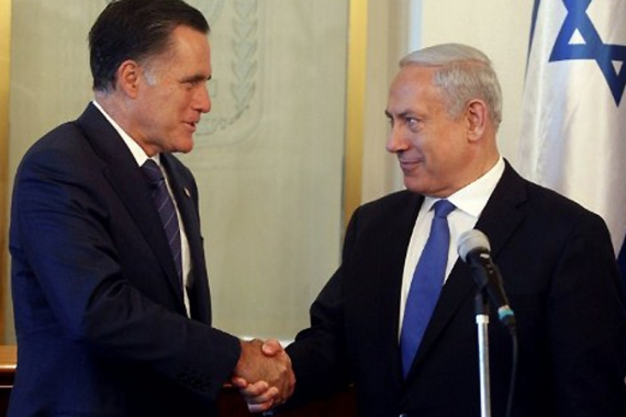 "Romney said Obama had ""thrown Israel under a bus"" during his push for negotiations with the Palestinians [AFP]"