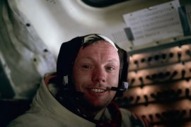 Armstrong is seen photographed by Aldrin after the pair completed the first ever moon landing in 1969 [NASA]