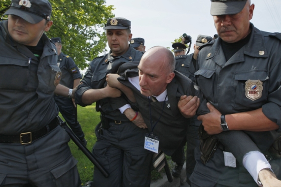 Gay rights activist Yury Gavrikov was detained for holding an unregistered rally against a ban on 'gay propaganda' [AP]