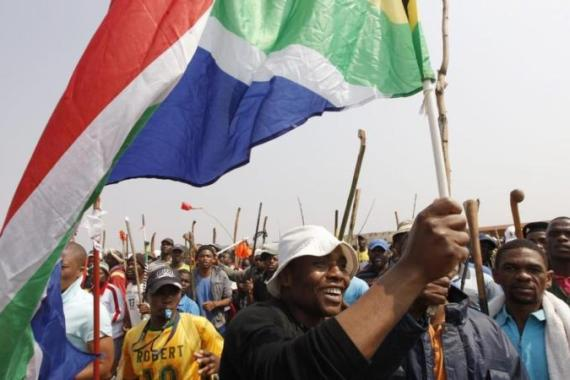 Negotiations with striking miners had restarted on Thursday at a site near the Lonmin mine [EPA]