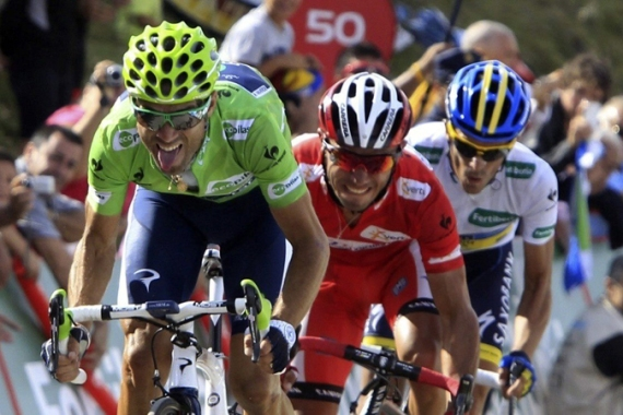 Joaquin Rodriguez, centre, withstood Alberto Contador's repeated attacks while defending his race lead [EPA]