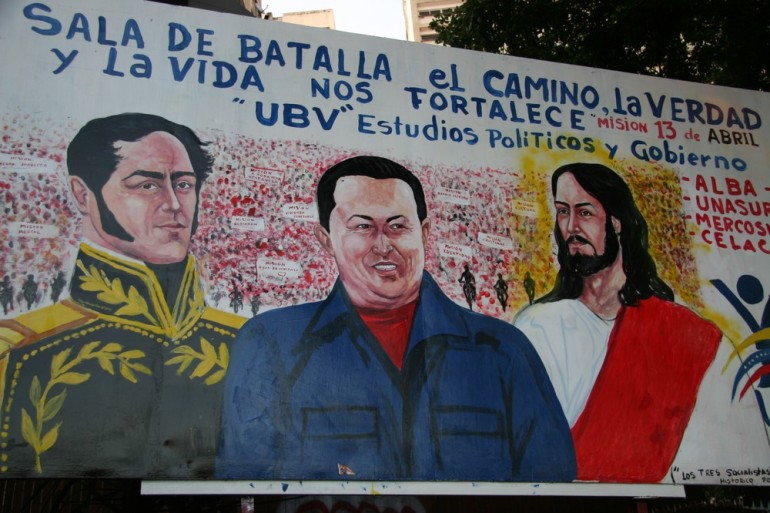 "Chavez, who referred to himself as a ""Christian socialist"", is pictured beside Jesus Christ and Simon Bolivar. Christian imagery and appeals have not stopped Venezuela from forging close relations with the Islamic Republic of Iran. Since his death on March 5, Chavez has assumed almost mythical status in Venezuela."