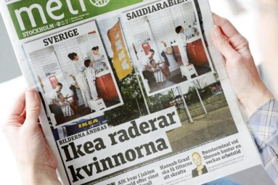 Sweden's Metro newspaper showed that women had been airbrushed out of the company's Saudi catalogue [AP]
