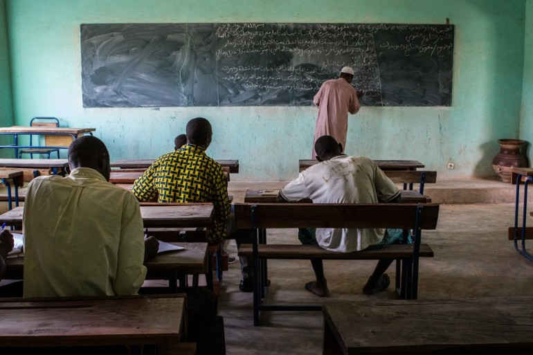 An Islamic school resumes lessons in Mopti, 460km northeast of the capital.